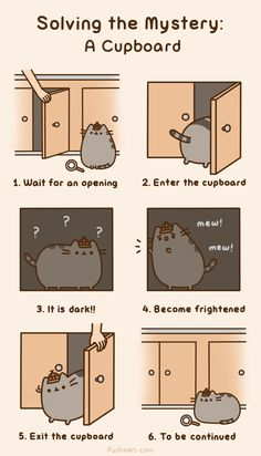 Oh Pusheen! You are supposed to be an example! Not shut your self in a cupboard.