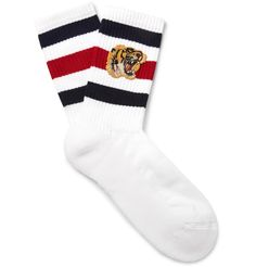 Work <a href='http://www.mrporter.com/mens/Designers/Gucci'>Gucci</a>'s bold aesthetic into your roster with these athletic-inspired socks. Designed with roaring tiger appliqués, they've been crafted in Italy from a plush stretch-cotton blend and have striped cuffs that further the sporty look.