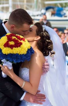 """The Bride was advised that her themed wedding choice, """"Super Heroes"""" could not be done, but Elegant Creations accepted the request and all bouquets turned out beautiful. Superman Wedding, Marvel Wedding, Star Wars Wedding, Geek Wedding, Chic Wedding, Dream Wedding, Silk Wedding Bouquets, Wedding Bridesmaid Dresses, Bride Bouquets"""