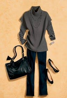 stripe long sleeve under the sweater from Ann Taylor