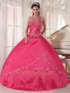 Brand New Coral Red Quinceanera Dress Halter Taffeta Appliques Ball Gown  http://www.fashionos.com  http://www.facebook.com/quinceaneradress.fashionos.us  Exquisite and sparking! This ball gown quinceanera dress features a lovely bodice with a halter top neckline and intricate beaded appliques throughout. The pleats under the bust area add fun to the whole dress. The beaded appliques on the ball gown complete the look.