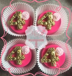 Pink and Gold Chocolate Covered Oreos. By: MizzDesserts