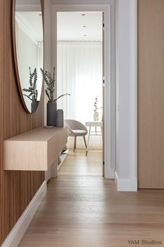 A collection of interior design projects from London based YAM Studios. View images of our beautifully minimal, contemporary interior projects. Home Entrance Decor, House Entrance, Small House Interior Design, Home Room Design, Hallway Designs, Hallway Ideas, Interior Cladding, Hall Interior, Home Deco