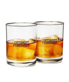 Optimist/Pessimist Glasses | When commencement congratulations are in order, share your best wishes with one of these creative picks.