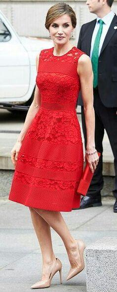 Queen Letizia - red Carolina Herrera dress - nude Prada heels