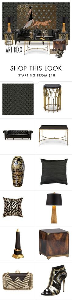 Art Deco...All the very best for 2015 Polyfriends by gloriettequartet on Polyvore featuring interior, interiors, interior design, home, home decor, interior decorating, Mitchell Gold + Bob Williams, Possini Euro Design, Today Interiors and L'Objet