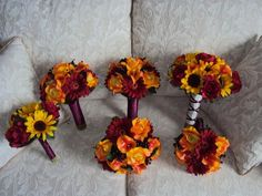 Fall Theme Wedding Package - Silk Yellow Sunflowers, Real Touch Red/Burgundy Gerbera Daisies, Silk Yellow and Orange Roses, Silk Red Roses and Real Touch Orange Calla lilies wedding bouquets
