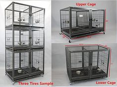 Bird Breeding Cages Triple With Stand Dog Crate Dividers Feeding Trays - Bird Cages - Ideas of Bird Cages Dog Crate Divider, Grooming Salon, Bird Cages, Accent Pieces, Decoration, Decorative Accessories, Crates, Ferret Cage, Pets
