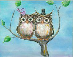 Owl Art Print Mr. and Mrs. Hoot- Whimsical Woodland Wedding 12x18