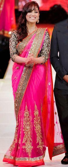 USD 73.26 Yami Gautam Deep Pink Round Net Bollywood Saree 44228