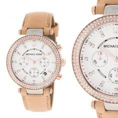Michael Kors MK5633 Strass Rosegold Leder Armband Damenuhr Armbanduhr NEU & OVP