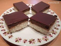 Kokosové rezy (fotorecept) - Recepty - Varecha.sk High Sugar, Sweet Cakes, Dessert Recipes, Desserts, Baked Goods, Tiramisu, Ale, Bakery, Goodies