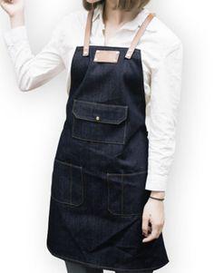 Unisex Blue/Black Denim Bib Apron with Adjustable Genuine Leather Straps and Convenient Pockets. Suitable for Uniforms of Barber,Barista,Bartender,Chef,Stylist,Waiter/Waitress,Hairdresser,Florist,Painter,Gardener, Baker,Carpenter,Woodworker or Work wear of Salon,Bakery,Cafe,Hotel,Restaurant,Bistro,Tattoo shop,Craft workshop etc.