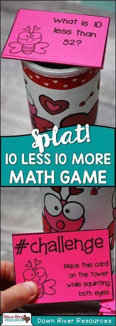 10 More 10 Less Math Center | Splat! Math Game | Splat! Math Center | Ten More Ten Less | 10 More Less | First Grade Math Centers | First Grade Math TEKS | Valentin'e's Math Games | Valentine's Party Games | Valentine's Math Centers | February Math Centers for First Grade #mathforfirstgrade