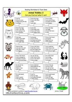 animals worksheet Animal Riddles 2 (Medium) worksheet - Free ESL printable worksheets made by teachers Animal Riddles, Animal Worksheets, Animal Activities, Animal Games, Printable Worksheets, Listening Activities, English Games, English Activities, English Lessons