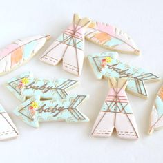 Tribal chic baby cookies