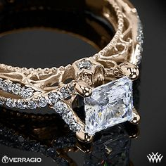 18k Rose Gold Verragio Pave Twist Diamond Engagement Ring wow