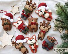 Christmas ornaments set - bear, deer and fox - Woodland Christmas - felt woodland small decorations - huge xmas set - made to order Felt Christmas Decorations, Felt Christmas Ornaments, Christmas Toys, Christmas Themes, Diy Ornaments, Beaded Ornaments, Homemade Christmas, Glass Ornaments, Felt Gifts