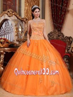 Tulle Sweetheart Sweet 15 Dresses with Appliques in Orange