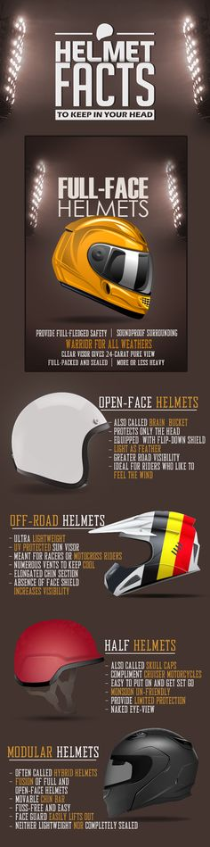It is a known fact that a helmet is the most important piece of safety equipment for riders. Wearing a helmet while riding a motorcycle can lessen the chance of suffering a serious brain injury and can save you from hazardous road accidents. There are a variety of motorcycle helmets out there for different types of riders. Take your pick.