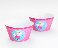 Saias wrappers para cupcakes da Peppa Pig Princess.