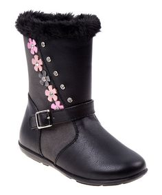 Love this Black Flower Faux-Fur Boot on #zulily! #zulilyfinds