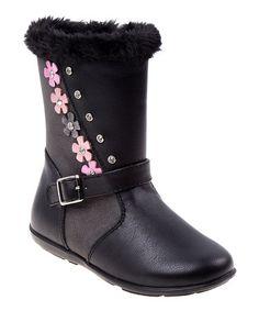 Laura Ashley Black Flower Faux-Fur Boot 22fc87389ba7