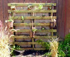 Pallet hanging herb garden