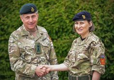 General Sir Nicholas Carter, Chief of the General Staff, congratulates Brigadier Ridge on her new appointment. (Crown Copyright 2015)