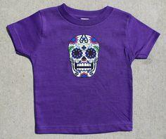 Sugar Skull Baby T Shirt PURPLE by HappyGoatDesigns on Etsy