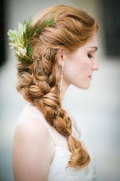 Wedding Hairstyles for Outdoor Weddings - Statement Side Braid with Flowers