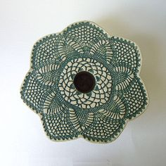 doily lace ikebana vase,  forest green and white pottery by KensGardenPottery on Etsy, $30.00