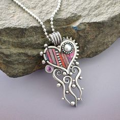 Sterling Silver Heart Pendant with a pink by LizardsJewelry, $372.00