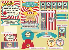Cumpleaños nro 8 de Darío - Temática Circo - Diseño invitación, banderines, cartel bienvenida, tarjeta indicadora de comida, círculos multiuso, caja golosinera, wrappers, mini-banderines, tarjeta souvenirs y etiqueta para botellas.