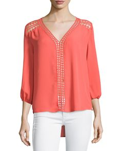 Slightly Jaded Crochet-Trim Swing Blouse, Coral (Pink)