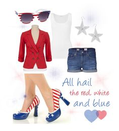 """American Flag Themed Outfit"" by costumelicious on Polyvore.  Great for the Fourth of July, or just to show off your patriotism with style!  Inspired by our ""Betsey"" American flag shoes.  :)    #Patriotic #AmericanFlag"