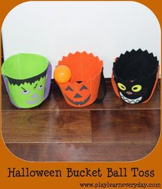 Play and Learn Everyday: Halloween Bucket Ball Toss Fun Halloween Games, Halloween Buckets, Halloween Decorations For Kids, Halloween Crafts For Toddlers, Easy Crafts For Kids, Halloween Party Decor, Cute Halloween, Toddler Crafts, Fun Crafts