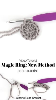 Learn to crochet a magic ring or magic circle. Video and photo tutorial by Winding Road Crochet. This Magic circle tutorial shows a non traditional way. I have used this way for many years and find it a much easier way to start crochet projects. Grannies Crochet, Basic Crochet Stitches, Crochet Basics, Knit Or Crochet, Learn To Crochet, Crochet Crafts, Crochet Projects, Free Crochet, Crochet Patterns