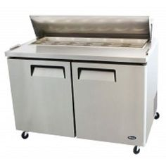 "Atosa MSF8302 Commercial 48"" Stainless Steel 2 Door Sandwich Prep Table #CFE"