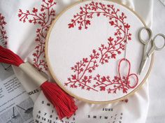 Floral numbers in red embroidery
