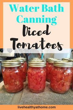 Water bath canning diced tomatoes is a great way to save money on your groceries and feed your family healthier food you've made yourself. Canning Tomatoes Water Bath, Canning Stewed Tomatoes, Recipes With Diced Tomatoes, Canned Tomato Recipes, Hot Water Bath Canning, Home Canning Recipes, Canning Salsa, Canning Vegetables, Canning Tips