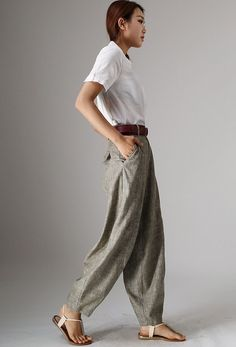 Maxi linen pants long Trousers (986)