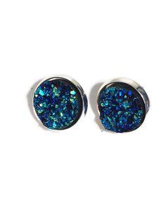 Druzy Studs, Stunning Blue Druzy studs- Drusy studs- Wedding earrings, something blue, bridesmaid jewelry 12mm DBKL106