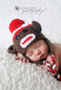 Baby Boy Newborn Boy Hat Sock Monkey Photography Prop Knit Crochet Beanie Photo Prop Brown Red White Braided Tassels. $21.00, via Etsy.