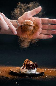 Mini Pavlovas with hazelnut cream and dark chocolate ganache