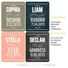 Declan Blair  Custom Baby Name Meaning and Birthdate by HappyLittleHangings