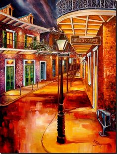 Harry's Corner - Original Oil Painting by Diane Millsap -- Harry's Corner Bar takes its place in this historic neighborhood. It is immersed in the hazy memories of the past which seem to seep from every old brick wall, from every heavy wooden door. Harry's is a vibrant neighborhood gathering place, but it is also a part of the intricate weaving of the fabric of the French Quarter; where the past and the present merge in perfect, beautiful harmony.