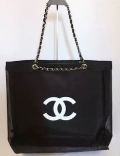 6eadf5c6638 CHANEL Mesh Tote Bag CC Shoulder VIP Beach Black Gold Chain Authentic  295.0