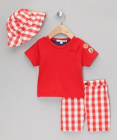 Take a look at this Red Louis the Lion Summer Tee Set - Infant & Toddler by Olive on #zulily today!