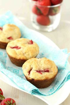 Easy Strawberry  Yogurt Muffin Recipe | cookincanuck.com #fruit